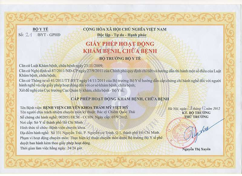 Operating license for Medical Examination